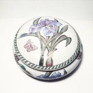Vintage Antique Porcelain Butterfly Trinket Box